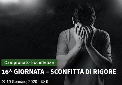 Articolo più recente dal Blog - 19/01/2020 - 16^ GIORNATA – SCONFITTA DI RIGORE