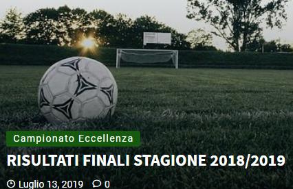 Articolo più recente dal Blog - 13/07/2019 - RISULTATI FINALI STAGIONE 2018/2019