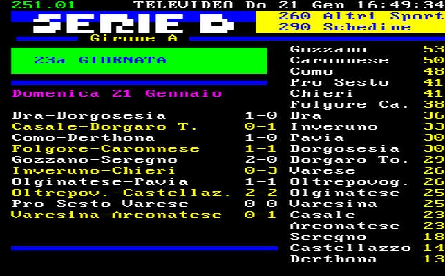 23^ GIORNATA – BOCCATA D'OSSIGENO